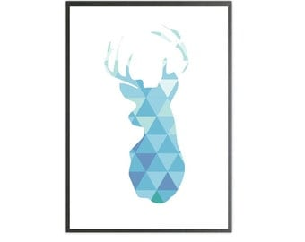deer blue art print