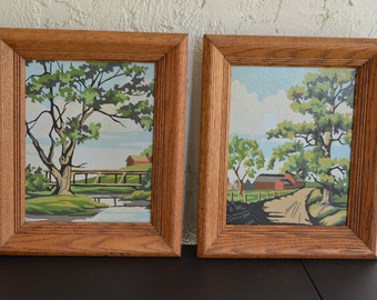 Pair of 1960's PBN Countryside Barn Scene Paint by Number Paintings Wood Framed