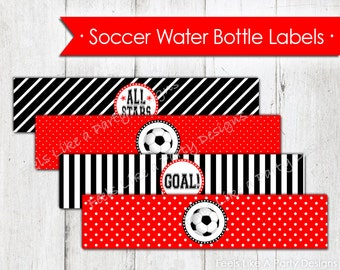 Soccer Water Bottle Wrappers - Instant Download