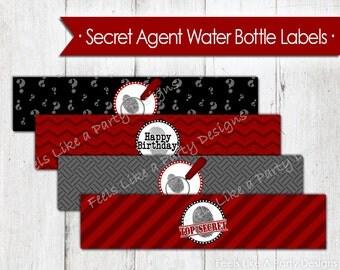 Secret Agent Water Bottle Wrappers - Instant Download