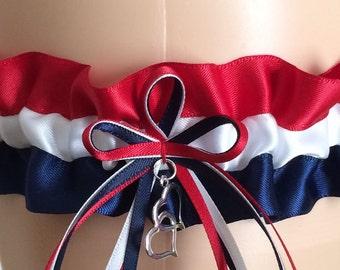 Red, White, and Navy Blue Wedding Garter, Bridal Garter,  Prom Garter, Keepsake Garter, Homecoming Garter