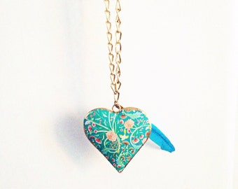 Chunky bird heart chain necklace- turquoise nature inspired heart- feather jewelry-yoga awareness oneness gift