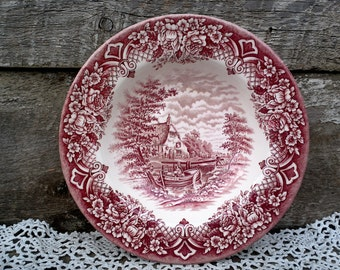 "Red Transferware 9"", Serving Bowl, Desert, Cereal or Salad, by Grindley of Staffordshire England called ""Homeland"", Floral, Boat, Serving"