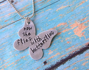 Personalized Memorial Necklace, In Remembrance Necklace, butterfly necklace