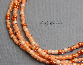 Coral Color Seed Bead Necklaces, Orange Seed Bead Necklaces, Orange Layering Necklaces, Orange Necklace, Long Orange Necklace,Kathy Bankston