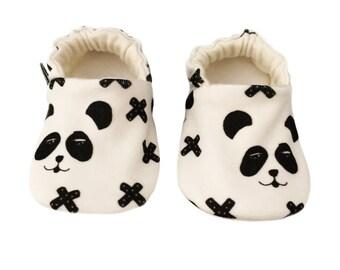 Baby Shoes, Organic, Pandas, British, Baby Pram Shoes, Baby Slippers, soft soled shoes, cruising, pram shoes, monochrome, black & white
