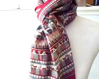 bordeaux red scarf- botanical scarf- architecture motives- classic feminine scarf