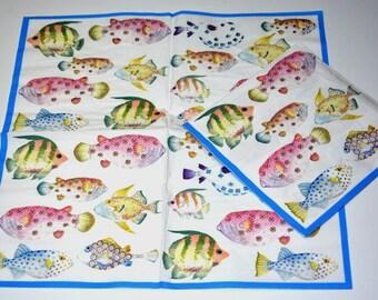 Tropical Fish Paper Napkins for Decoupage, Ocean Decoupage Paper Napkins for Mixed Media, Collage, Design Paper Napkins