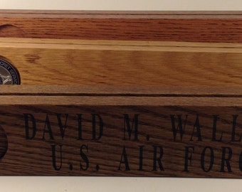On SALE CUSTOM Order Laser ETCHED Desk Name Plate Coin Display Holder for 8 Coins in Oak Stained Red Mahogany
