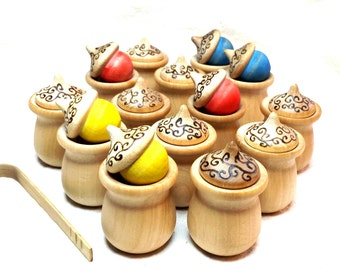 Wooden Rainbow Acorn Matching Game with Color Sorting Feature //  Wooden Cups & Acorns//Waldorf and Montessori Educational Toy//Simple Gifts