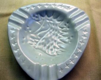 Camark Pottery Seahorse Dish, Triangular, Light Aqua