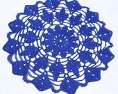 Blue table doily cloth crochet handmade