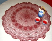 Large Burgundy ROUND DOILY - Unusual size and color - Exceptionally Nice Handmade Vintage