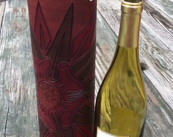 Wine Quiver / Wine Tote Hand Tooled Leather in Burgundy and Brown - ANEMONE