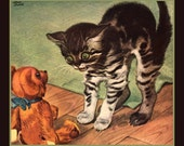 Fridge Magnet Kitty Cat afraid of Teddy Bear, vintage image from 1943, kitten