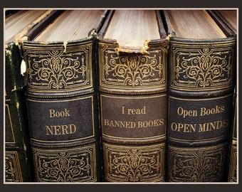 Fridge Magnet - Books, reading, Open Books Open Mind, Book Nerd, I read banned books,