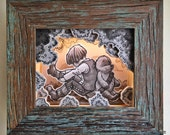 """Original, Signed, Hand Built Wooden Shadow Box / Music Box / Night Light By James Hance - """"Co-Pilots"""" (Wookiee the Chew)"""