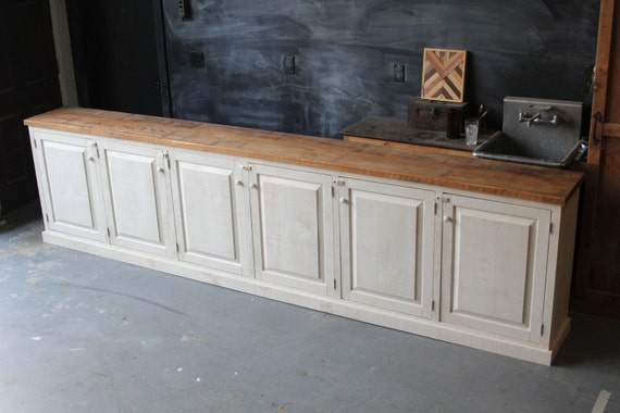 Rustic French Farmhouse Country Sideboard Buffet Cabinet Console Reclaimed Oak Pine Oyster White - - Botanist Sideboard