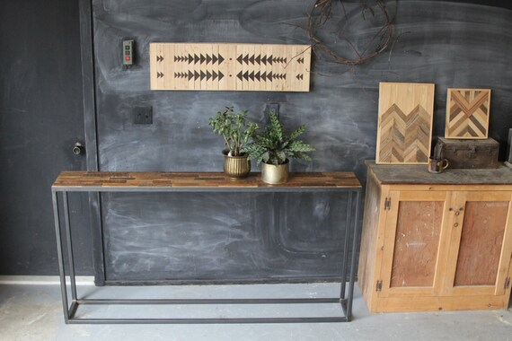 Industrial Steel and Reclaimed Barn Wood Entry Way Table Side Board Console - Leonids Pattern