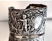 65% OFF SALE Antique Edwardian British Monarch Cherub Angel Art Nouveau Solid Sterling Silver 925 .925 Cuff Bracelet Armlet Cupid Putti Mona