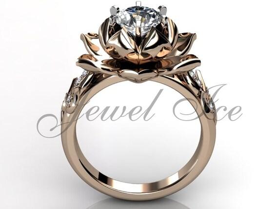 fleur de lotus bague de fian ailles 14k or rose diamant. Black Bedroom Furniture Sets. Home Design Ideas