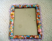 Fabric Covered Frame in Baby Bear Print, Vintage Frame Trimmed in Lavender Lace
