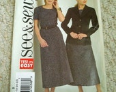 Misses Top, Skirt and Jacket Pattern in Sizes 16 to 22, See and Sew by Butterick No. 4711 Uncut, factory folded