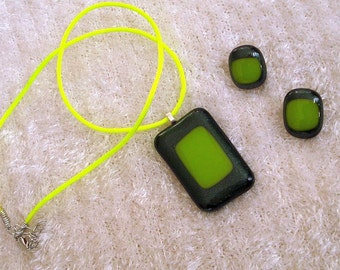 Lime Green and Black Dichroic Glass  Pendant and Earring Set, Hand Cut and Fired