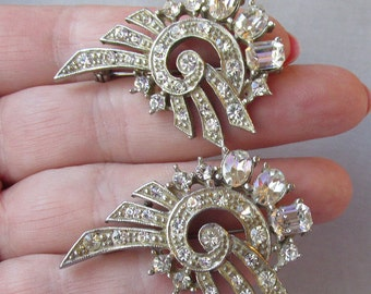 Pair of 1940's Retro Modern Deco Rhinestone Pins
