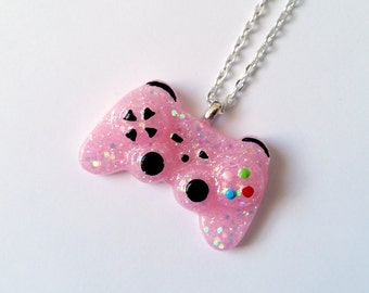 Pink Glitter Playstation Controller Necklace - Gamer Girl Nerdy Jewelry Geeky Jewelry Geeky Necklace Gamer Necklace Gamer Jewelry Nerdy Gift