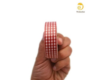 Fabric Tape- Red Checks for Scrapbooking , Sewing