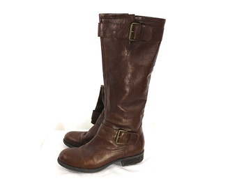 Brown/Tan Franco Sarto Zip Up Knee High Riding Boots