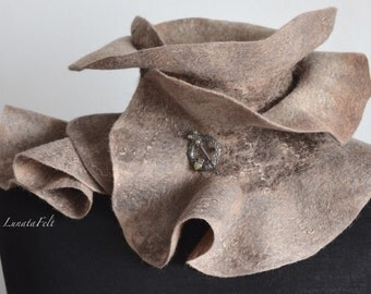 Incrustation. Wet felted ruffle scarf (merino wool, silk fibers, sheep curls) 120x25 cm OOAK, soft and warm, only to order!