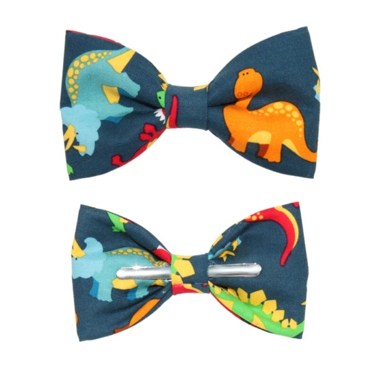 navy orange dinosaur clip on cotton bow by