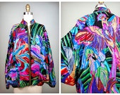 EXOTIC Sequin Embellished Jacket by Judith Ann Creations // Tropical Island Birds Sequined Beaded Dolman • Braxae Vintage Co.