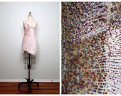 Iridescent Pink Sequined Mini Dress / Asymmetrical Sequin Embellished Strapless White & Pink Prom Dress US Size 2