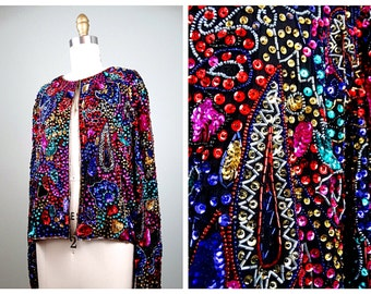 Rainbow Beaded Sequin Jacket // Colorful Sequined Open Top // Bright Sequin Evening Blazer Large XL