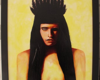 Original Oil Painting Portrait Art - Gypsy Summer Nights Collection - Feather Headdress on Woman - As the Sun Sets
