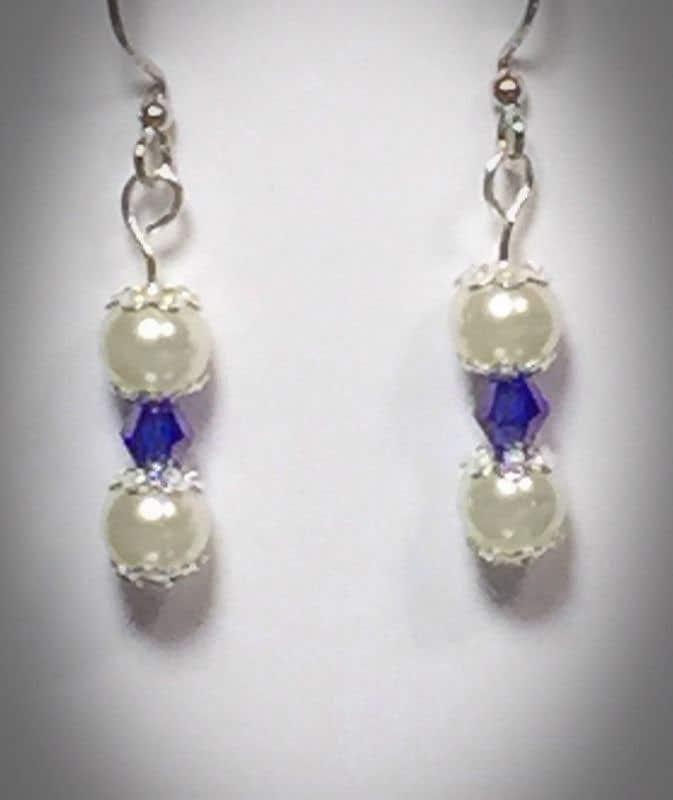 Pearl Tanzanite: Pearl And Tanzanite-Colored Crystal Earrings