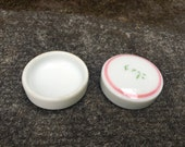 "Antique Individual Ceramic Salt Cellars Asian 1.5"" Pink Green Tableware"