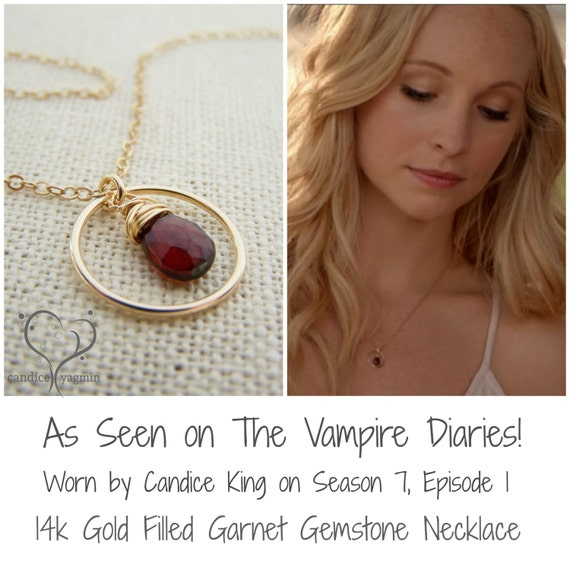 Vampire Diaries Necklace - Garnet Gemstone Wire Wrapped Briolette Teardrop Necklace - January Birthstone - Garnet Necklace
