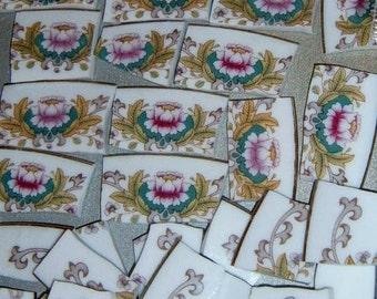 Take 40%  Off,Broken China, Mosaic Supplies, Jewelry Supplies, Hand Cut, Stoneware, Floral Mosaic Focal, Floral China