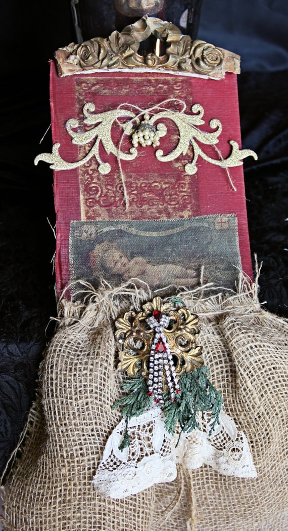 Religious Christmas Wall Decor : Shabby christmas wall hanging altered book vintage antique
