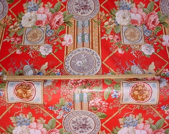 13-1/4 yards Jay Yang / Hines Age of Grandeur - Country English Floral Luxury Cotton Chintz Print Drapery Upholstery Fabric - Free Shipping
