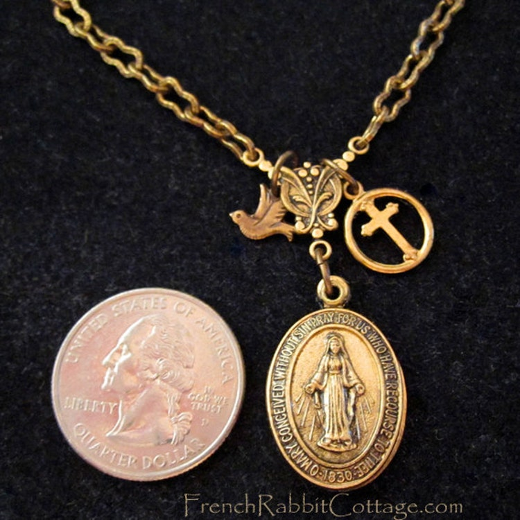 mother mary necklace locket  blessed by frenchrabbitcottage1