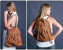Brown Leather BackPack - Leather Tote Bag - Laptop Backpack - Elegant leather Handbag for women