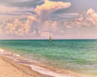 Sailboat Photography, Pastel Colors, Vintage Look, Gulf of Mexico Beaches, Fine Art Photography, Sailboat Photo, Green Water