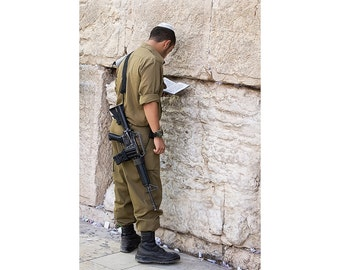 The Western Wall Israel Photography, Soldier in Prayer at the Western Wall Jerusalem, Large Wall Art, Fine art Photograph