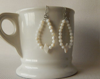 White Beaded Dangle Earrings