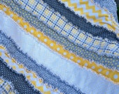"Reduced  38 x 40""  Special Price  Yellow and Grey Chevron Dots Houndstooth Flannel Rag Quilt or Coverlet Gender Neutral Ready to Ship"